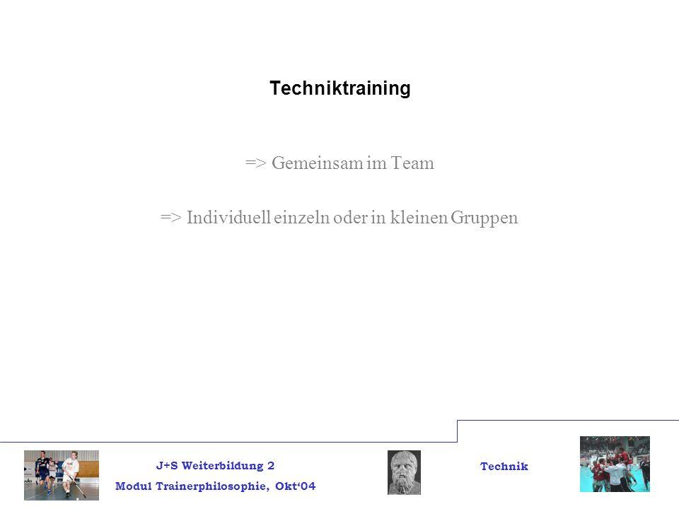 J+S Weiterbildung 2 Modul Trainerphilosophie, Okt04 Technik Techniktraining => Gemeinsam im Team => Individuell einzeln oder in kleinen Gruppen