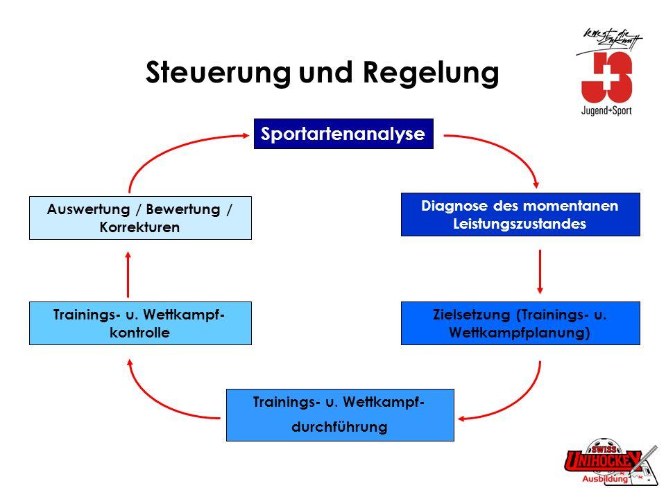 Steuerung und Regelung Sportartenanalyse Diagnose des momentanen Leistungszustandes Zielsetzung (Trainings- u. Wettkampfplanung) Trainings- u. Wettkam