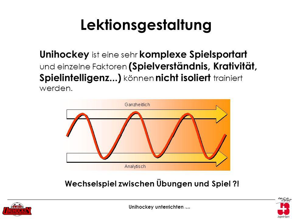 Unihockey unterrichten maw02 Lektionsgestaltung Unihockey ist eine sehr komplexe Spielsportart und einzelne Faktoren (Spielverständnis, Krativität, Sp