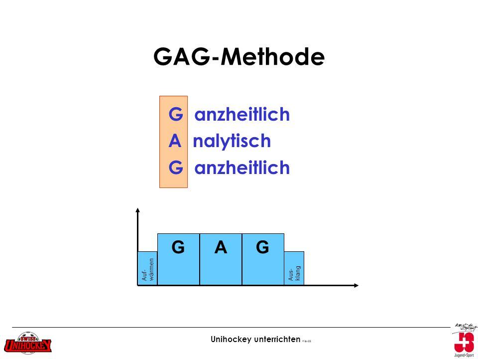 Unihockey unterrichten maw02 GAG-Methode G anzheitlich A nalytisch G anzheitlich GAG Auf- wärmen Aus- klang