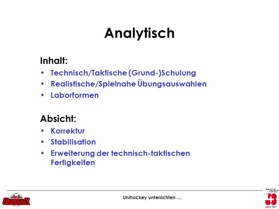 Unihockey unterrichten maw02 Analytisch Inhalt: Technisch/Taktische (Grund-)Schulung Realistische/Spielnahe Übungsauswahlen Laborformen Absicht: Korre