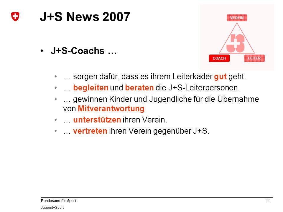 11 Bundesamt für Sport Jugend+Sport J+S News 2007 J+S-Coachs … … sorgen dafür, dass es ihrem Leiterkader gut geht. … begleiten und beraten die J+S-Lei