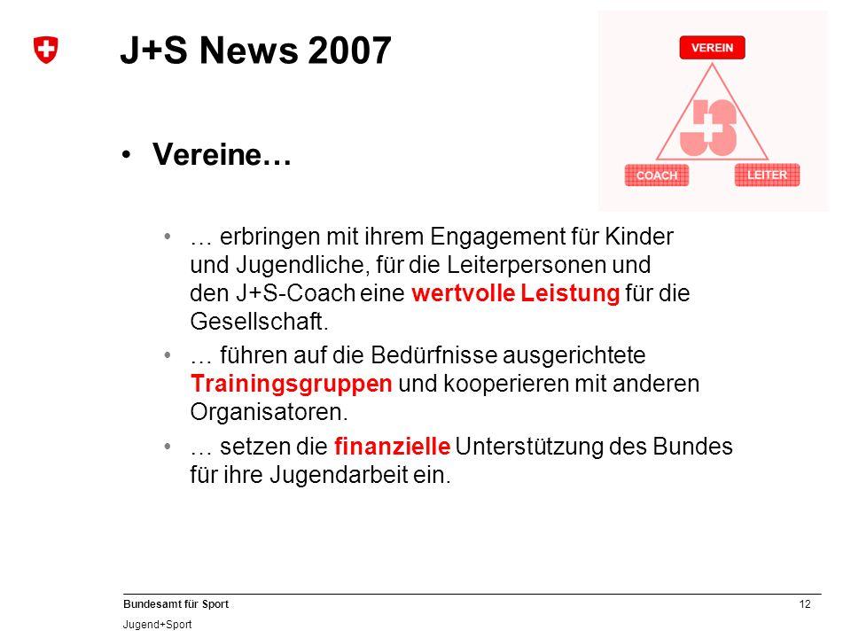 12 Bundesamt für Sport Jugend+Sport J+S News 2007 Vereine… … erbringen mit ihrem Engagement für Kinder und Jugendliche, für die Leiterpersonen und den