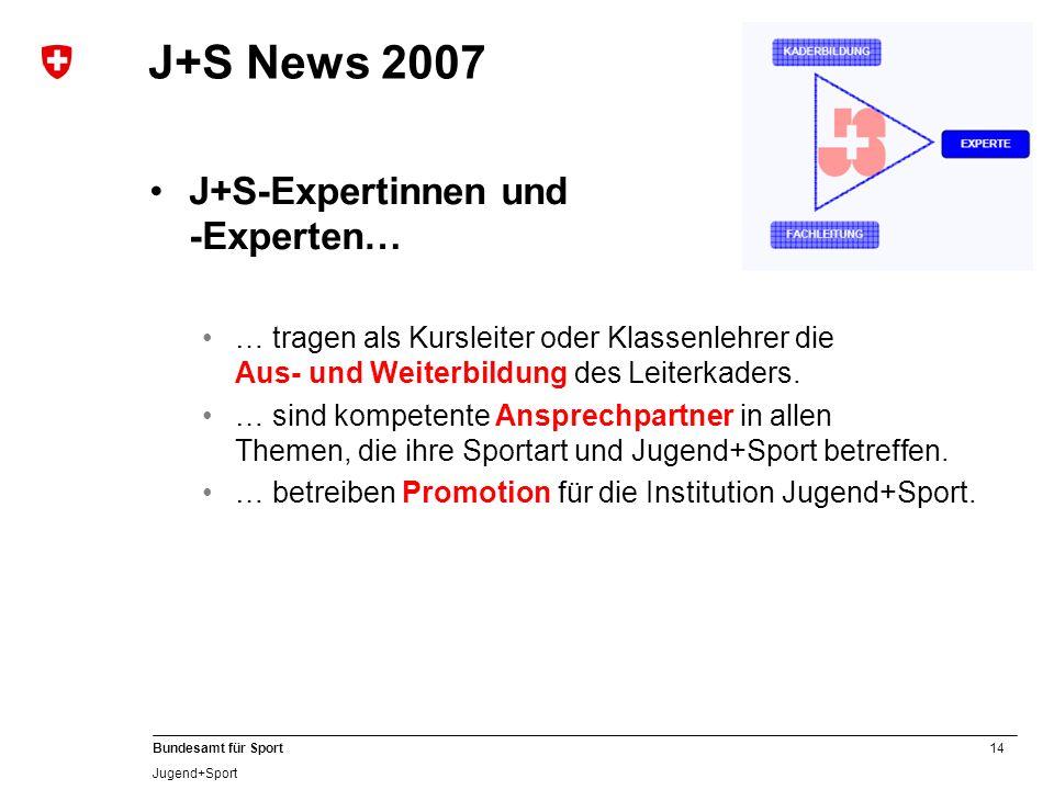 14 Bundesamt für Sport Jugend+Sport J+S News 2007 J+S-Expertinnen und -Experten… … tragen als Kursleiter oder Klassenlehrer die Aus- und Weiterbildung
