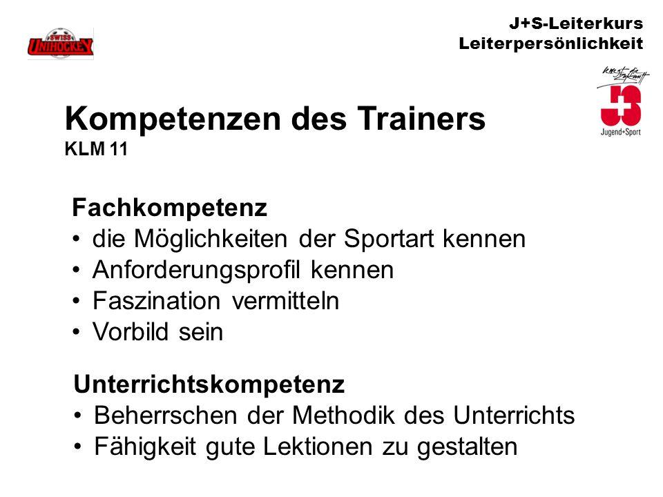 J+S-Leiterkurs Leiterpersönlichkeit Kompetenzen des Trainers KLM 11 Fachkompetenz die Möglichkeiten der Sportart kennen Anforderungsprofil kennen Fasz