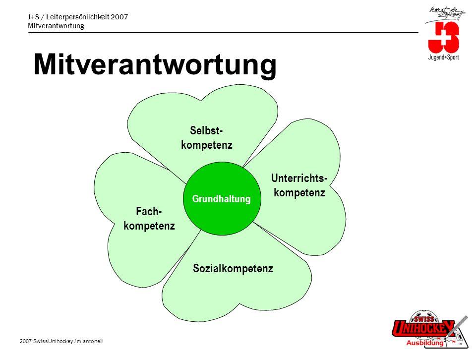 J+S / Leiterpersönlichkeit 2007 Mitverantwortung 2007 SwissUnihockey / m.antonelli Mitverantwortung Selbst- kompetenz Unterrichts- kompetenz Fach- kompetenz Sozialkompetenz Grundhaltung