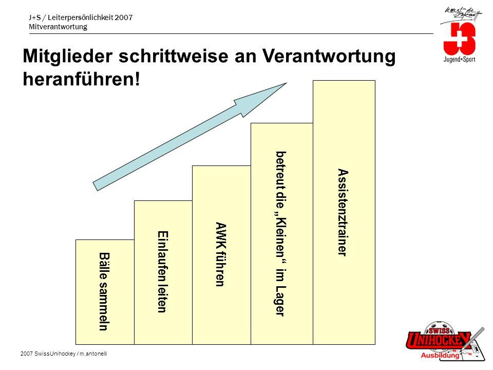 J+S / Leiterpersönlichkeit 2007 Mitverantwortung 2007 SwissUnihockey / m.antonelli Mitglieder schrittweise an Verantwortung heranführen.