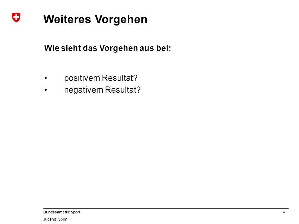 4 Bundesamt für Sport Jugend+Sport Weiteres Vorgehen Wie sieht das Vorgehen aus bei: positivem Resultat? negativem Resultat?