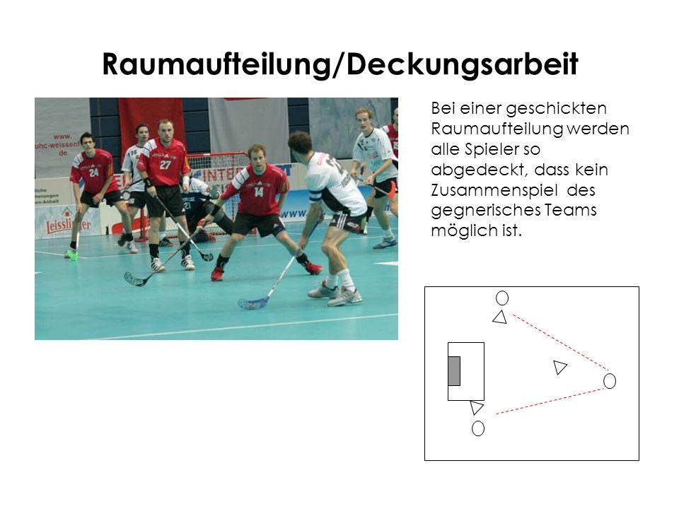 Raumaufteilung/Deckungsarbeit Bei einer geschickten Raumaufteilung werden alle Spieler so abgedeckt, dass kein Zusammenspiel des gegnerisches Teams mö
