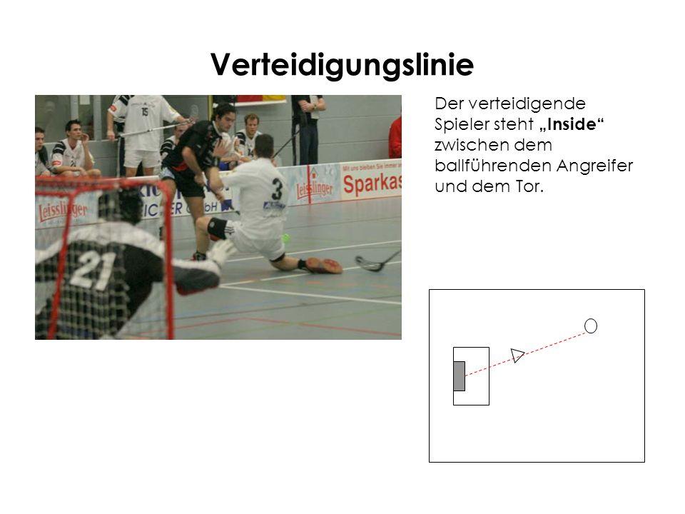 Verteidigungslinie Der verteidigende Spieler steht Inside zwischen dem ballführenden Angreifer und dem Tor.