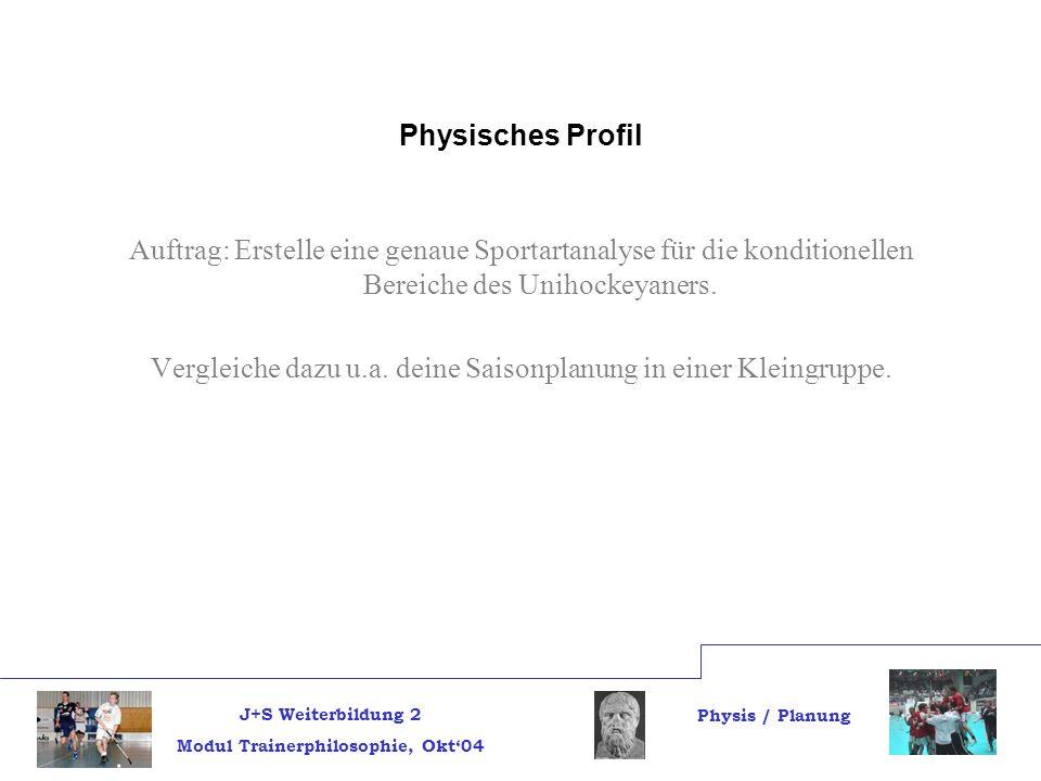 J+S Weiterbildung 2 Modul Trainerphilosophie, Okt04 Physis / Planung Physisches Profil Auftrag: Erstelle eine genaue Sportartanalyse für die konditionellen Bereiche des Unihockeyaners.