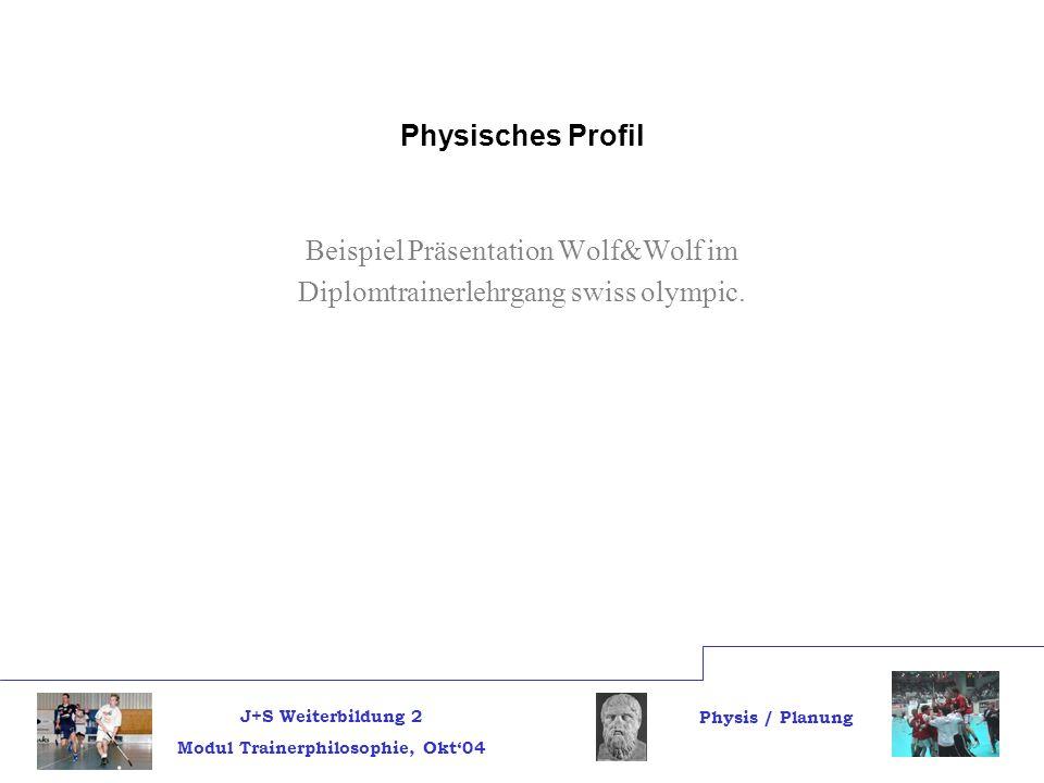 J+S Weiterbildung 2 Modul Trainerphilosophie, Okt04 Physis / Planung Physisches Profil Beispiel Präsentation Wolf&Wolf im Diplomtrainerlehrgang swiss olympic.