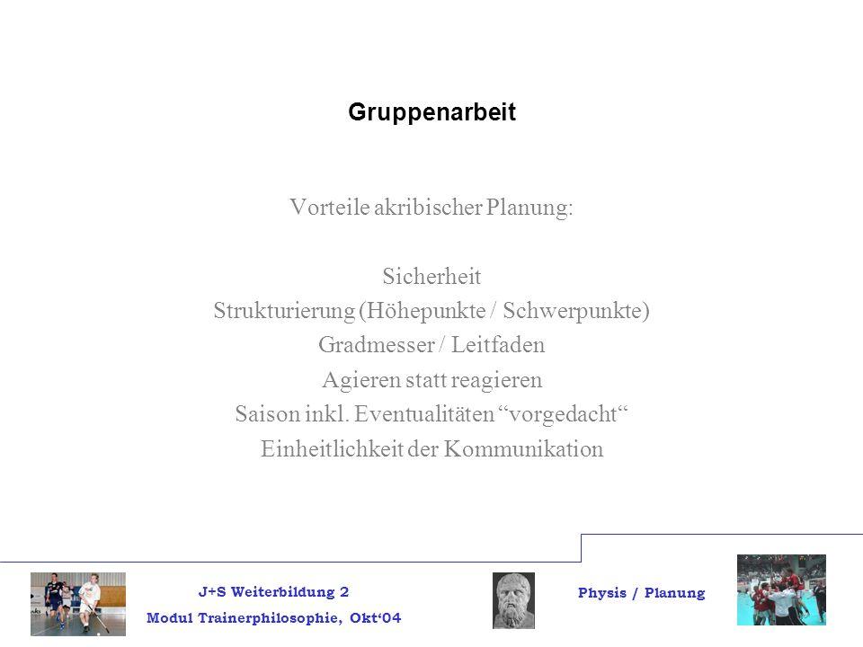 J+S Weiterbildung 2 Modul Trainerphilosophie, Okt04 Physis / Planung Gruppenarbeit Vorteile akribischer Planung: Sicherheit Strukturierung (Höhepunkte / Schwerpunkte) Gradmesser / Leitfaden Agieren statt reagieren Saison inkl.