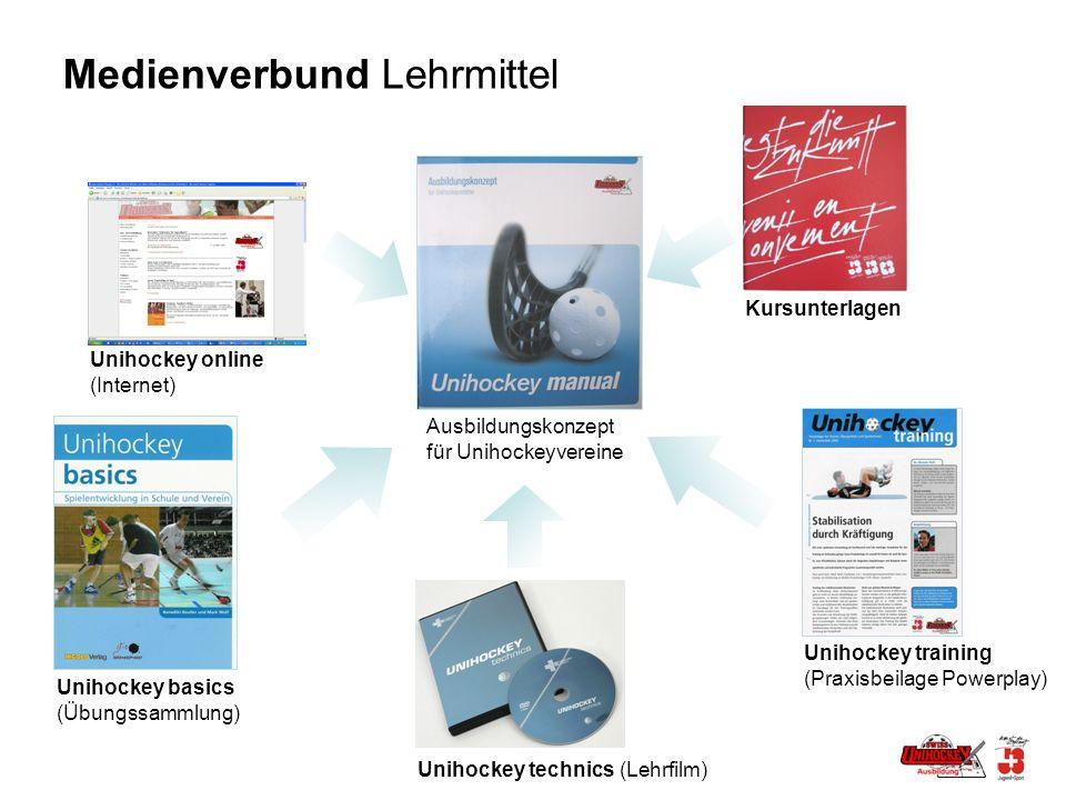 Medienverbund Lehrmittel Unihockey online (Internet) Unihockey basics (Übungssammlung) Unihockey technics (Lehrfilm) Unihockey training (Praxisbeilage Powerplay) Kursunterlagen Ausbildungskonzept für Unihockeyvereine
