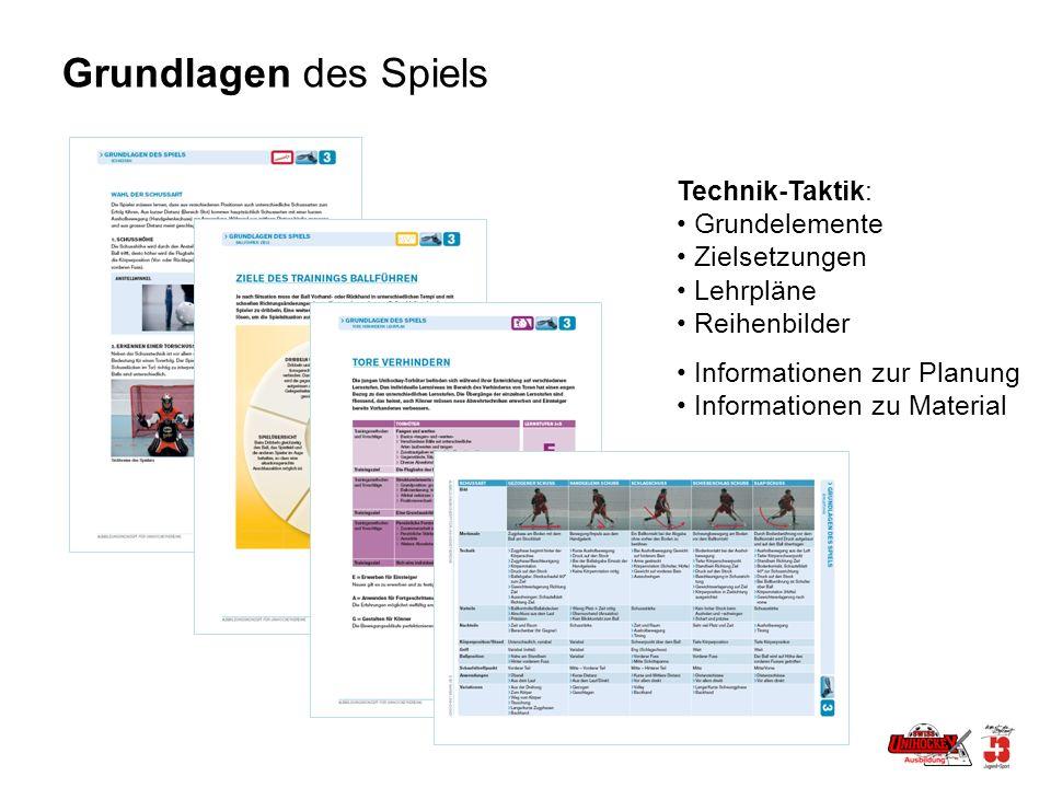 Grundlagen des Spiels Technik-Taktik: Grundelemente Zielsetzungen Lehrpläne Reihenbilder Informationen zur Planung Informationen zu Material