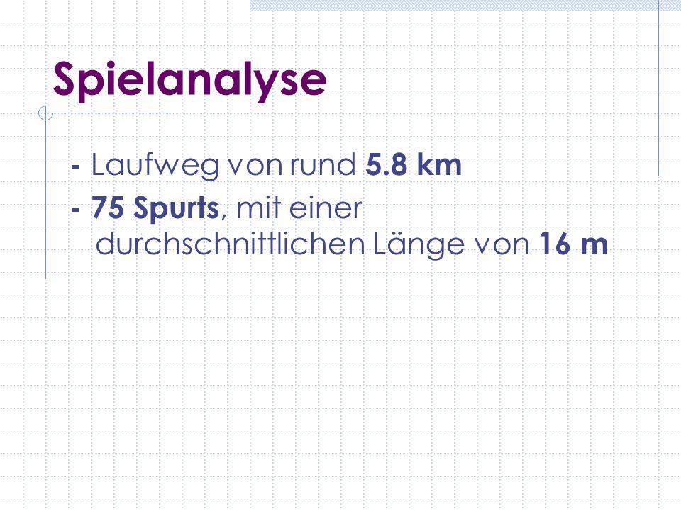Spielanalyse - Laufweg von rund 5.8 km - 75 Spurts, mit einer durchschnittlichen Länge von 16 m