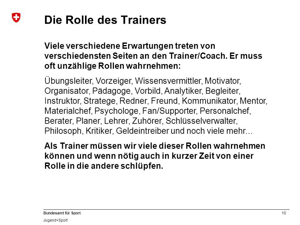 10 Bundesamt für Sport Jugend+Sport Die Rolle des Trainers Viele verschiedene Erwartungen treten von verschiedensten Seiten an den Trainer/Coach.