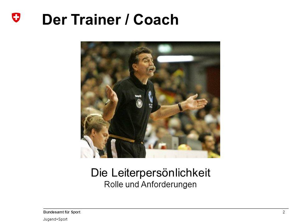 2 Bundesamt für Sport Jugend+Sport Der Trainer / Coach Die Leiterpersönlichkeit Rolle und Anforderungen