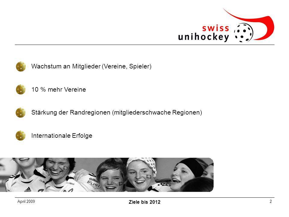 April 2009 Ziele bis 2012 2 Wachstum an Mitglieder (Vereine, Spieler) 10 % mehr Vereine Stärkung der Randregionen (mitgliederschwache Regionen) Internationale Erfolge
