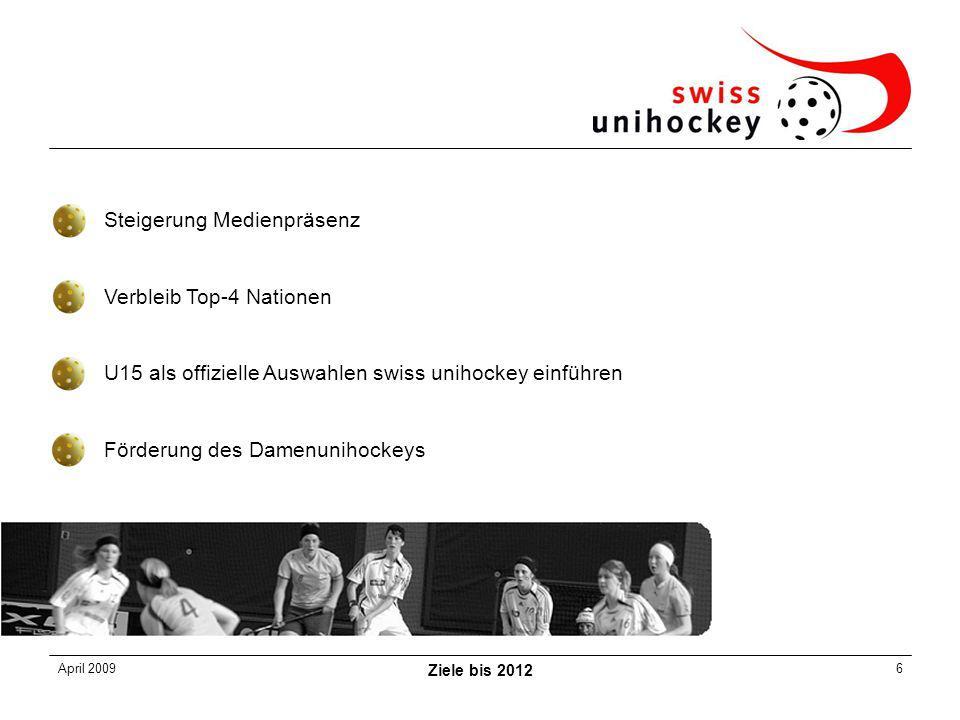 April 2009 Ziele bis 2012 6 Steigerung Medienpräsenz Verbleib Top-4 Nationen U15 als offizielle Auswahlen swiss unihockey einführen Förderung des Damenunihockeys