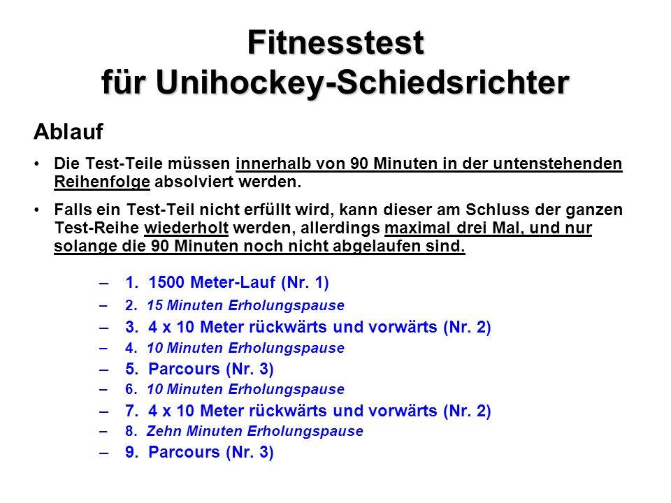 Fitnesstest für Unihockey-Schiedsrichter Ablauf Die Test-Teile müssen innerhalb von 90 Minuten in der untenstehenden Reihenfolge absolviert werden.