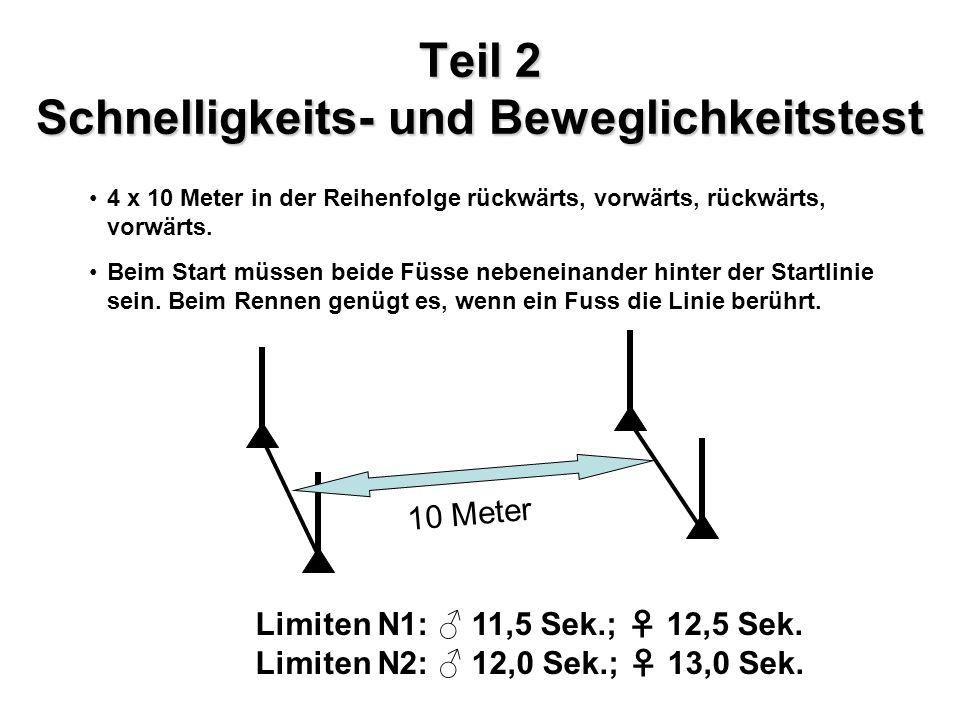 Teil 3 Parcourstest 3 m 6 m Seitenwechsel VorwärtsRückwärtsSeitwärts 10 m Limiten N1: 42 Sek.; 48 Sek.