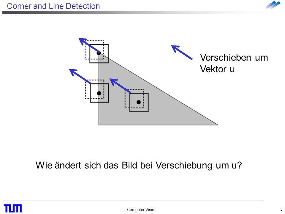 Corner and Line Detection Computer Vision 3 Verschieben um Vektor u Wie ändert sich das Bild bei Verschiebung um u