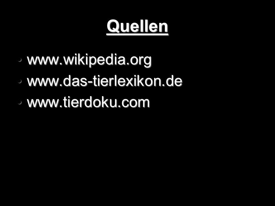 Quellen www.wikipedia.org www.wikipedia.org www.das-tierlexikon.de www.das-tierlexikon.de www.tierdoku.com www.tierdoku.com