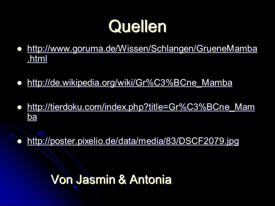 Quellen http://www.goruma.de/Wissen/Schlangen/GrueneMamba.html http://www.goruma.de/Wissen/Schlangen/GrueneMamba.html http://www.goruma.de/Wissen/Schl