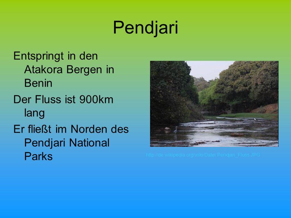 Pendjari Entspringt in den Atakora Bergen in Benin Der Fluss ist 900km lang Er fließt im Norden des Pendjari National Parks http://de.wikipedia.org/wiki/Datei:Pendjari_Fluss.JPG