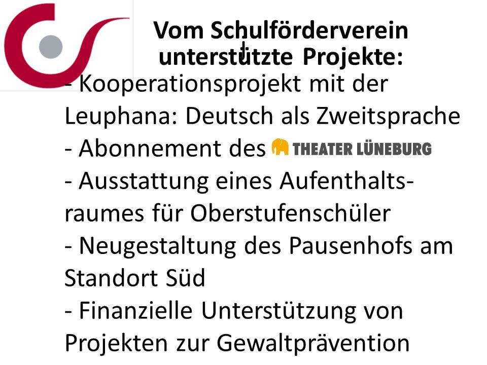 j Vom Schulförderverein unterstützte Projekte: - Kooperationsprojekt mit der Leuphana: Deutsch als Zweitsprache - Abonnement des - Ausstattung eines A