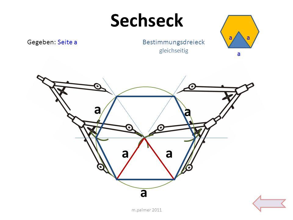 Sechseck Gegeben: Seite a a aa m.palmer 2011 a aa Bestimmungsdreieck gleichseitig a a