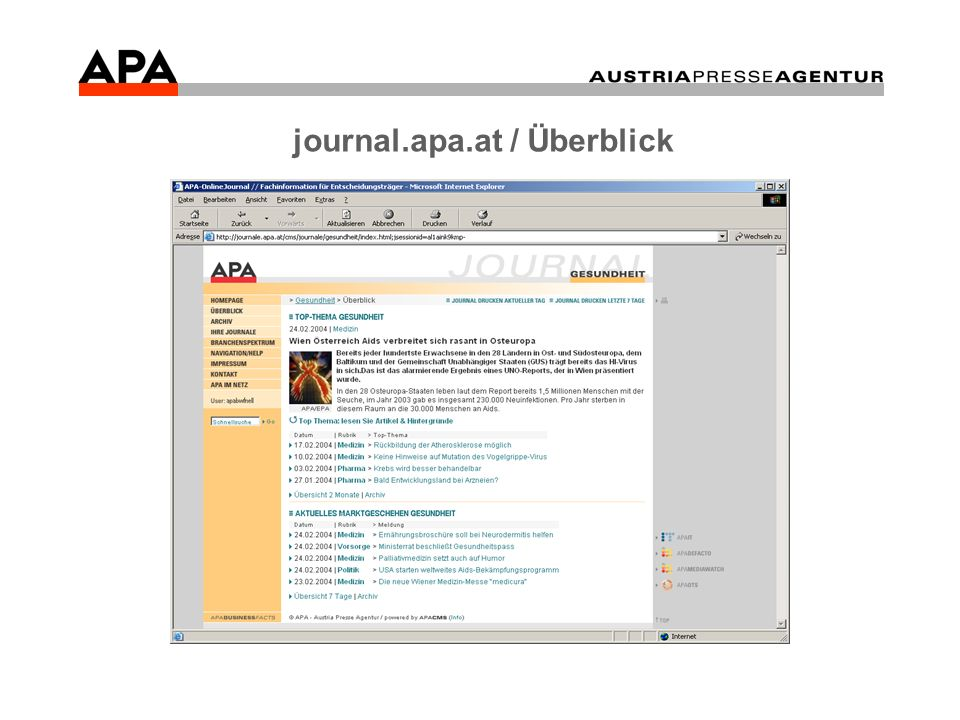 journal.apa.at / Überblick