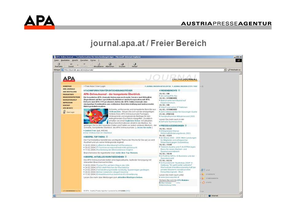 Beispielhafter Kundenbesuch Einstieg journal.apa.at (freier Bereich).