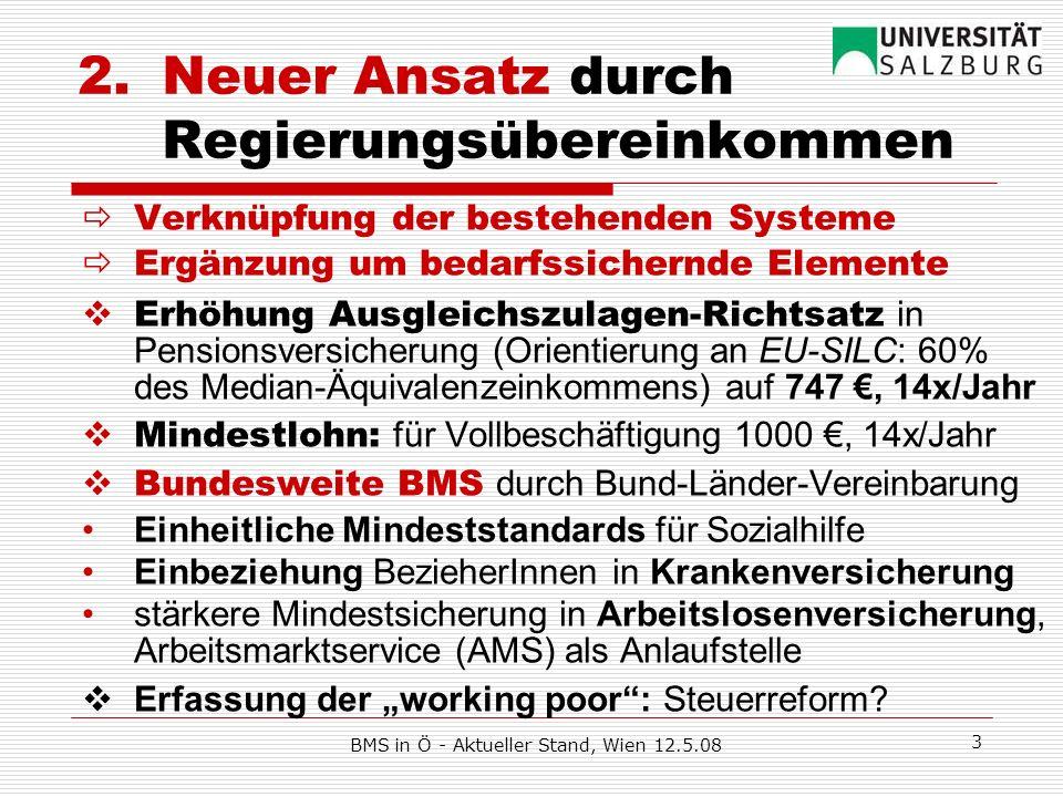 BMS in Ö - Aktueller Stand, Wien 12.5.08 3 2.Neuer Ansatz durch Regierungsübereinkommen Verknüpfung der bestehenden Systeme Ergänzung um bedarfssicher