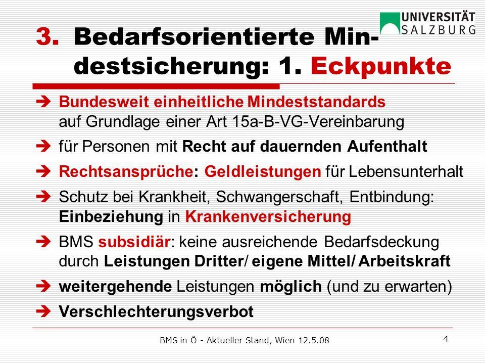 BMS in Ö - Aktueller Stand, Wien 12.5.08 5 3.2 BMS-Voraussetzungen Subsidiärität durch Berücksichtigung von … Leistungen Dritter und eigenen Einkünften, aber zB.