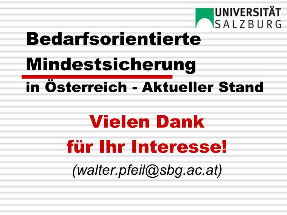 Bedarfsorientierte Mindestsicherung in Österreich - Aktueller Stand Vielen Dank für Ihr Interesse! (walter.pfeil@sbg.ac.at)