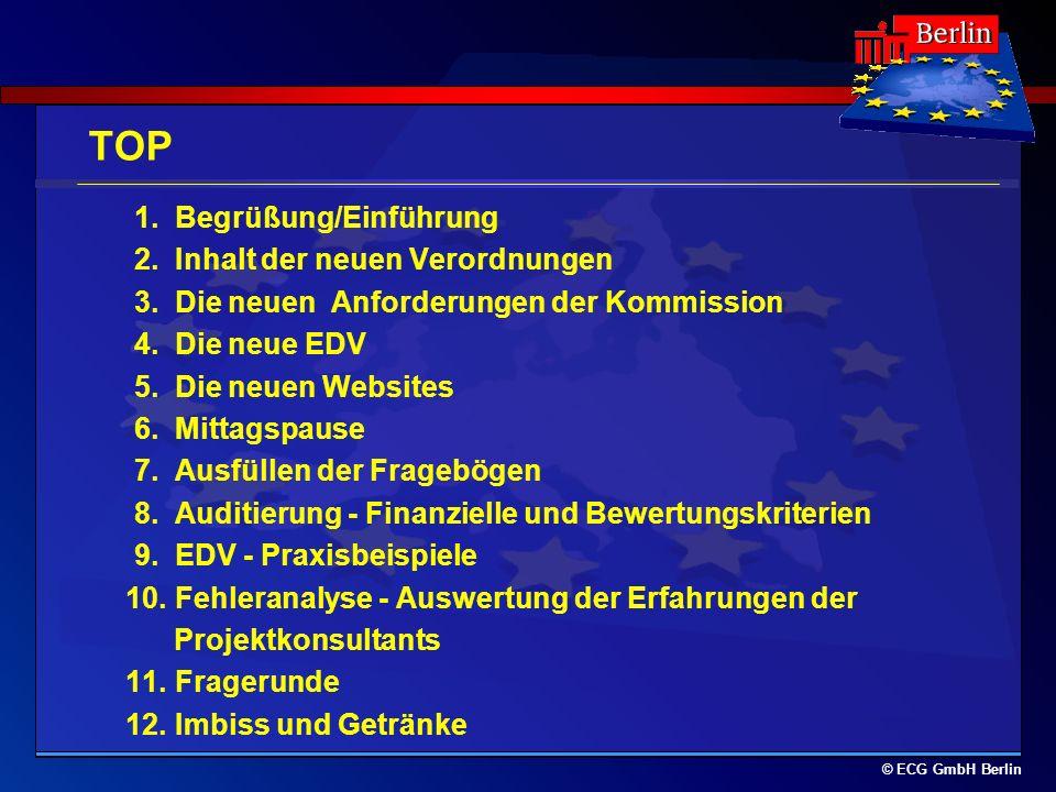 © ECG GmbH Berlin TOP 1. Begrüßung/Einführung 2. Inhalt der neuen Verordnungen 3. Die neuen Anforderungen der Kommission 4. Die neue EDV 5. Die neuen