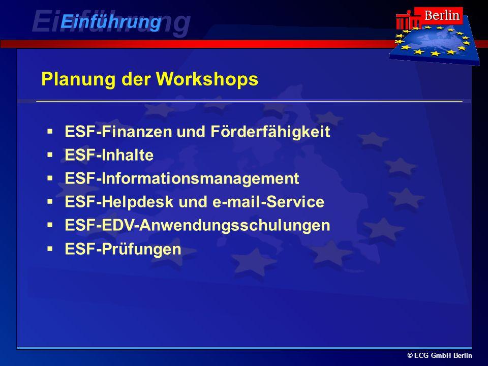 © ECG GmbH Berlin Planung der Workshops ESF-Finanzen und Förderfähigkeit ESF-Inhalte ESF-Informationsmanagement ESF-Helpdesk und e-mail-Service ESF-EDV-Anwendungsschulungen ESF-Prüfungen Einführung