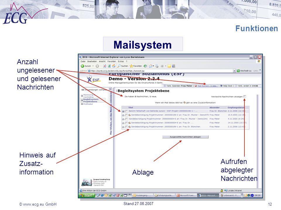 © www.ecg.eu GmbH12 Stand 27.08.2007 Funktionen Anzahl ungelesener und gelesener Nachrichten Ablage Aufrufen abgelegter Nachrichten Hinweis auf Zusatz