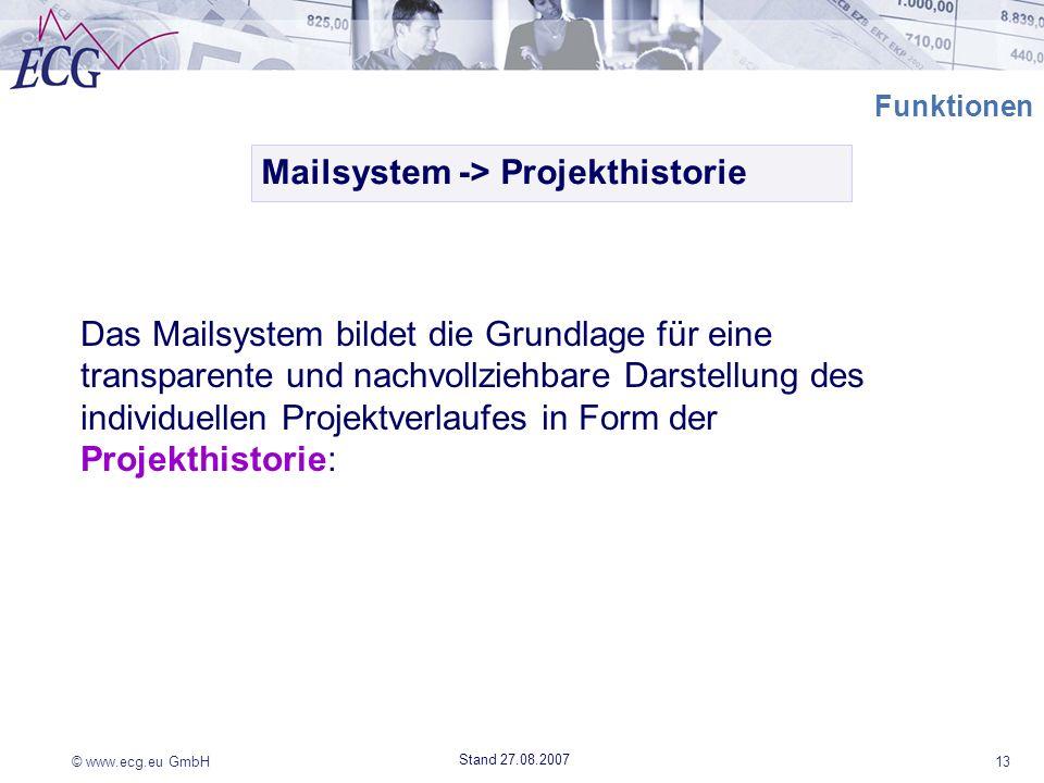 © www.ecg.eu GmbH13 Stand 27.08.2007 Funktionen Mailsystem -> Projekthistorie Das Mailsystem bildet die Grundlage für eine transparente und nachvollzi