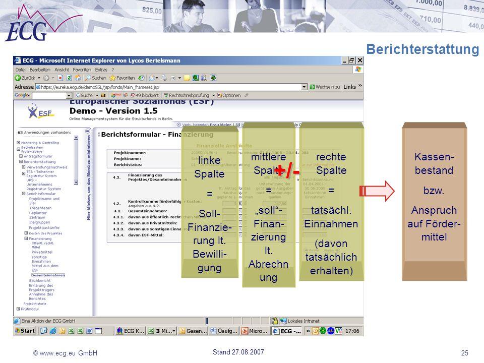 © www.ecg.eu GmbH25 Stand 27.08.2007 Berichterstattung linke Spalte = Soll- Finanzie- rung lt. Bewilli- gung mittlere Spalte = soll- Finan- zierung lt