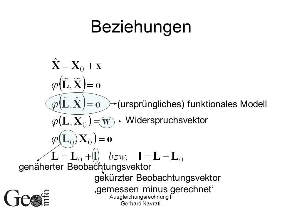 Ausgleichungsrechnung II Gerhard Navratil Beziehungen (ursprüngliches) funktionales Modell Widerspruchsvektor genäherter Beobachtungsvektor gekürzter