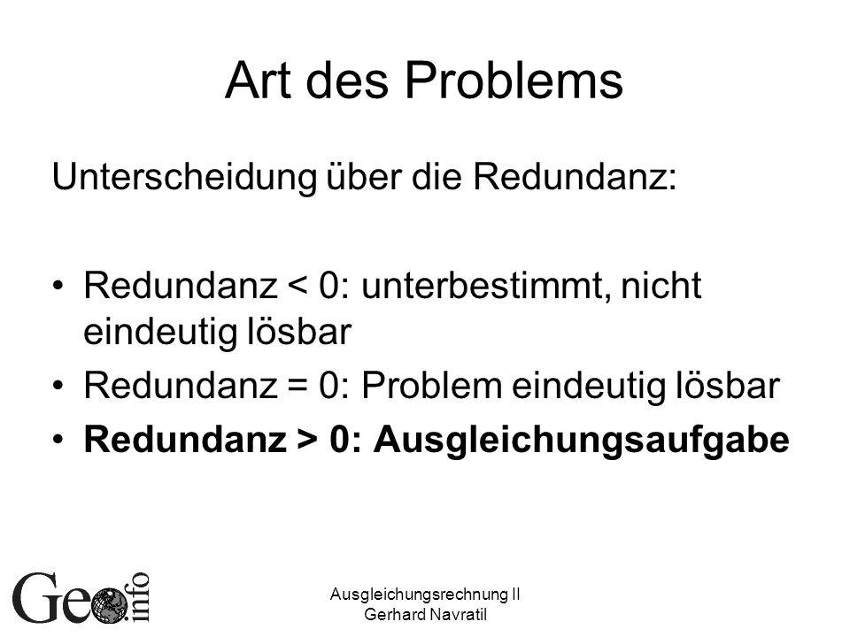 Ausgleichungsrechnung II Gerhard Navratil Art des Problems Unterscheidung über die Redundanz: Redundanz < 0: unterbestimmt, nicht eindeutig lösbar Red