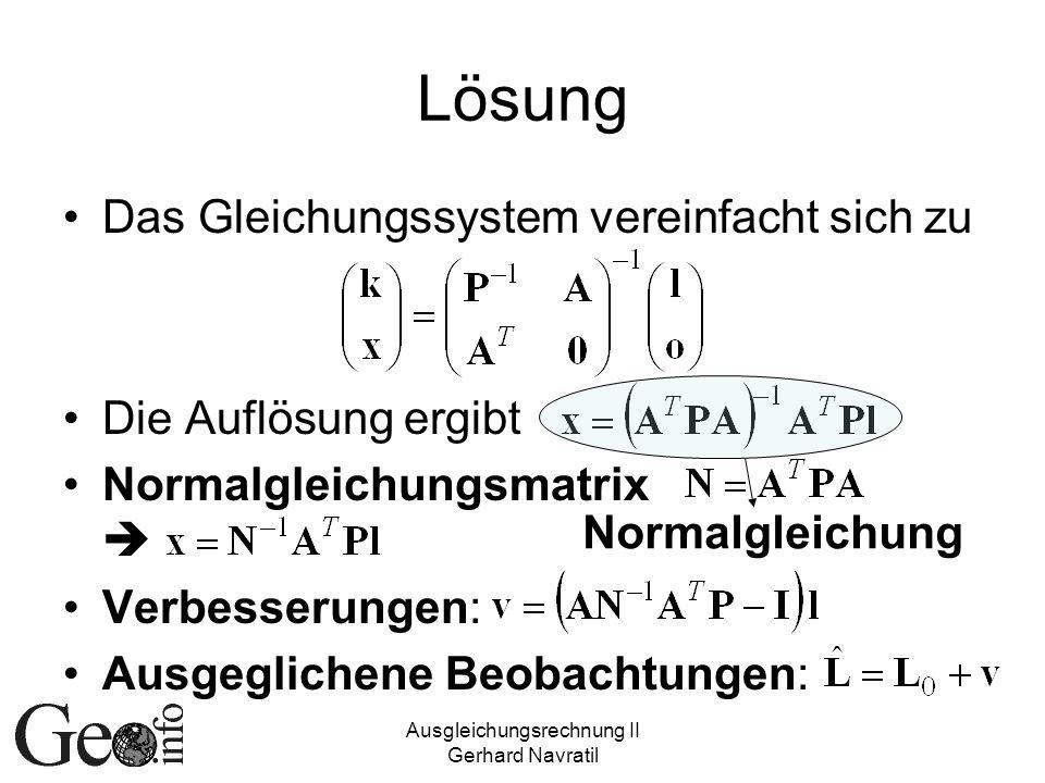 Ausgleichungsrechnung II Gerhard Navratil Lösung Das Gleichungssystem vereinfacht sich zu Die Auflösung ergibt Normalgleichungsmatrix Verbesserungen: