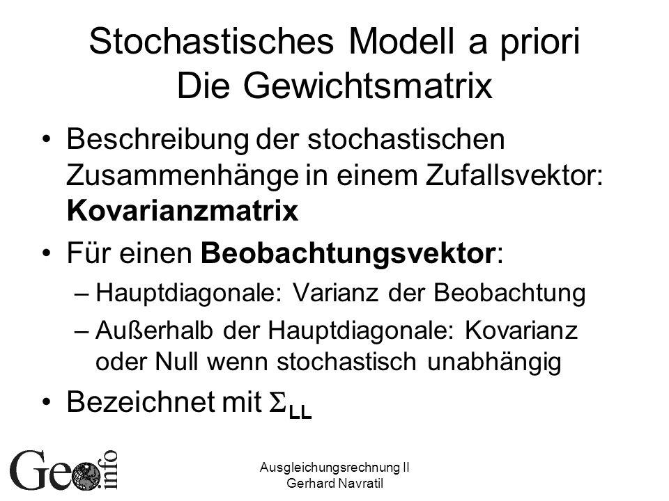 Ausgleichungsrechnung II Gerhard Navratil Stochastisches Modell a priori Die Gewichtsmatrix Beschreibung der stochastischen Zusammenhänge in einem Zuf