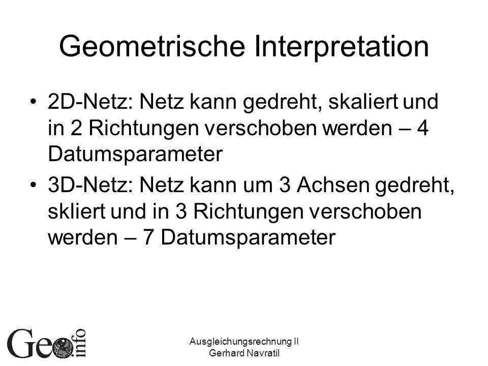 Ausgleichungsrechnung II Gerhard Navratil Geometrische Interpretation 2D-Netz: Netz kann gedreht, skaliert und in 2 Richtungen verschoben werden – 4 Datumsparameter 3D-Netz: Netz kann um 3 Achsen gedreht, skliert und in 3 Richtungen verschoben werden – 7 Datumsparameter