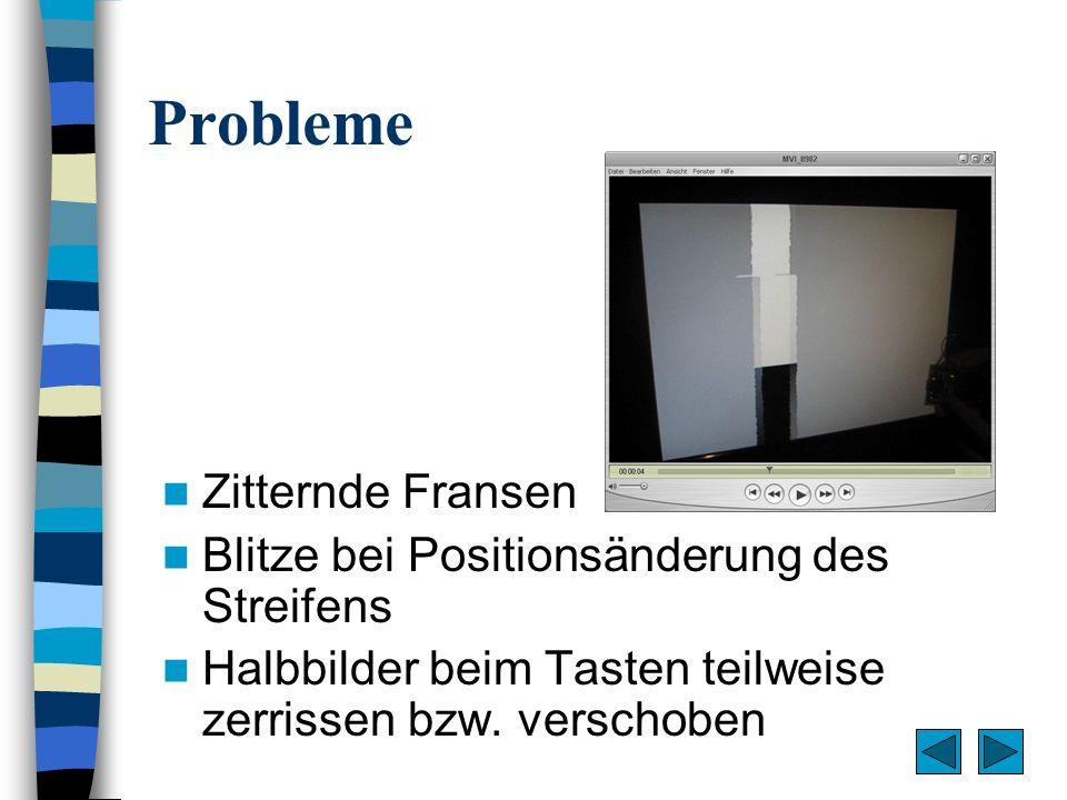 Lösung der Probleme Stabilisierung des Taktgenerators durch Quarz Warteschleifen genauer Externen Interrupt nur bei Bildwechsel zulassen keine Blitze, Halbbilder nicht zerrissen