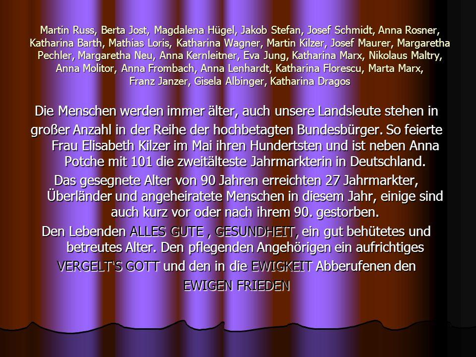 Martin Russ, Berta Jost, Magdalena Hügel, Jakob Stefan, Josef Schmidt, Anna Rosner, Katharina Barth, Mathias Loris, Katharina Wagner, Martin Kilzer, J
