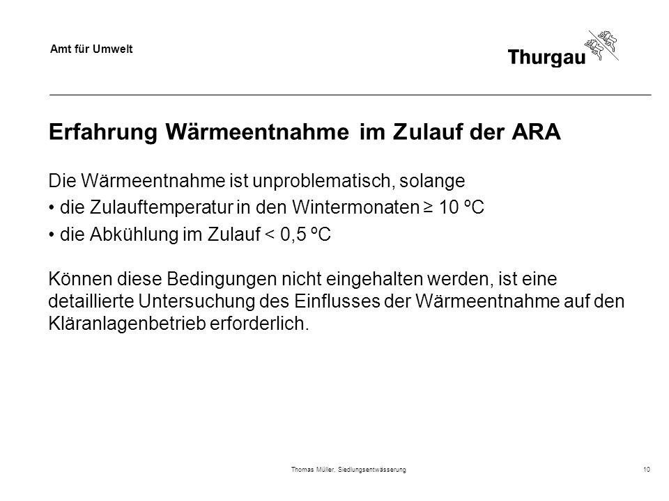 Amt für Umwelt Thomas Müller, Siedlungsentwässerung10 Erfahrung Wärmeentnahme im Zulauf der ARA Die Wärmeentnahme ist unproblematisch, solange die Zul